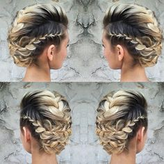 There are three things every bride wants in her wedding-day hairstyle: a look that is timeless AND trendy, has lots of volume and lasts all night long. In this video, Lala Kaszoni (aka Lala's Updos) w Mohawk Braid, French Braid Hairstyles, Box Braids Hairstyles, Wedding Hairstyles, Braided Updo, Princess Hairstyles, Dreadlock Hairstyles, Homecoming Hairstyles, Hair Updo