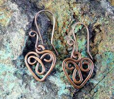Celtic Heart Copper Wire Earrings.. $23.00, via Etsy.