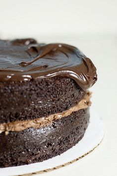 decadent chocolate cake with mousse filling and ganoche icing