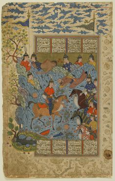 Folio from a Shahnama (Book of kings) by Firdawsi (d.1020); recto: Ruhham carries away the severed arm of the Turanian sorcerer; verso: text circa 1590-1600 Safavid period Ink, opaque watercolor and gold on paper H: 32.3 W: 20.5 cm Shiraz, Iran Purchase--Smithsonian Unrestricted Trust Funds, Smithsonian Collections Acquisition Program, and Dr. Arthur M. Sackler S1986.258 Freer-Sackler | The Smithsonian's Museums of Asian Art