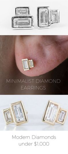 This jewelry designer has amazing diamond earrings using repurposed vintage diamonds for under $1,000. She has modern, minimalist, edgy and chic designs. Totally unique diamond earrings using recycled gold and recycled stones. Great for the environment. Check them out!