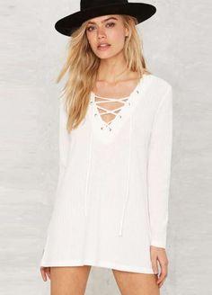 White Eyelet Detail Cross Front Long Sleeve T-shirt dress
