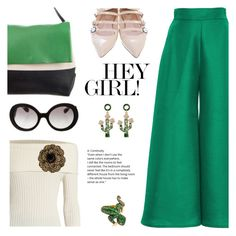 """""""Go for green"""" by pensivepeacock ❤ liked on Polyvore featuring Paper London, CÉLINE, Fendi, The Row, Chanel and Prada"""