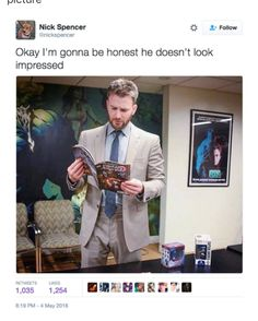 That's Chris reading the comic that most of us are angry about a few weeks ago. by marvel.and.dc.geek