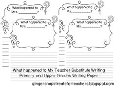 Ginger Snaps: Substitute Writing Idea and a Math Game