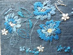 I love embroidery and these colours just go perfect together...may be I will try this on a jean jacket!