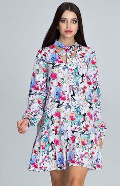 a0e2917242 Figl M599 Wzór 78 sukienka w kwiaty Rewelacyjna sukienka o lekkim i  zwiewnym fasonie