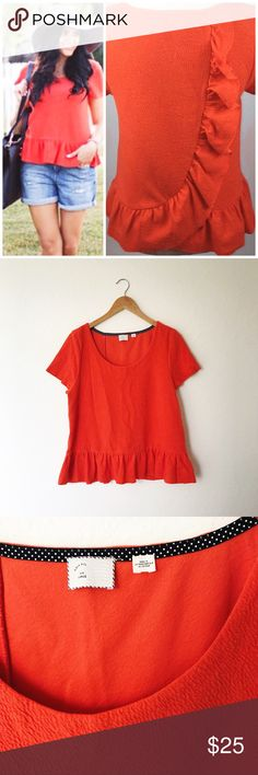 "Anthro Postmark Peplum Deep Orange Ruffle Back Top Cascata Peplum top by Anthro brand Postmark with a cascading ruffle down the back. Dark orange color. Excellent preowned condition and super cute! Approximate measurements when laid flat: 19.5"" bust, 23.5"" Length from shoulder to hem. Anthropologie Tops"