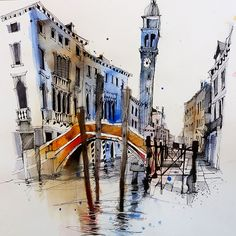Urban sketcher and artist Ian Fennelly uses busiest locations to make breathtaking watercolor sketches. Watercolor Architecture, Watercolor Landscape Paintings, Landscape Artwork, Pen And Watercolor, Watercolor Trees, Watercolor Artists, Watercolor Painting, Architecture Sketches, Bird Paintings
