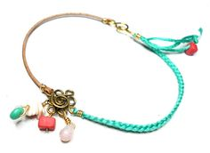 Braided Friendship Bracelets - Leather cotton coral turquoise