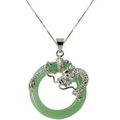 Green Jade Circle & Dragon Pendant Necklace (580 VEF) ❤ liked on Polyvore featuring jewelry, necklaces, dragon, jade pendant, round jade pendant, circle pendant necklace, box chain necklace and pendants & necklaces