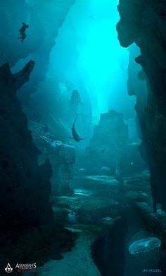 View an image titled 'Underwater Ruins Art' in our Assassin's Creed IV: Black Flag art gallery featuring official character designs, concept art, and promo pictures. Fantasy Places, Fantasy World, Fantasy Art, Environment Concept, Environment Design, Assassins Creed, Digital Painter, Underwater Ruins, Underwater Homes