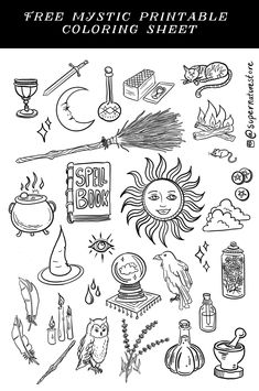 Crystal balls, grimoires, cauldrons, corvids, and more. #alchemy #witchcraft #freebies #freecoloringbook #coloringbook