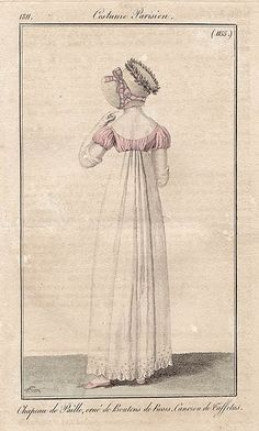 Back view of pink bodice gown, 1811 Costume parisien