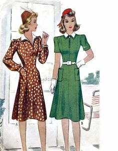 Vintage 1940s Dress Pattern Zip Front Dress Princess Seams Detachable Collar 1941 McCall 4162