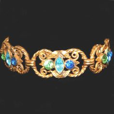 "Bezel Set Stones Gold Gilt Vintage Link Bracelet, Scrolling Open Work.  An appealing color combination make this beautiful vintage bracelet very wearable.  For sale only at the ""Vintage Jewelry Stars"" shop at http://www.rubylane.com/shop/vintagejewelrystars!!"