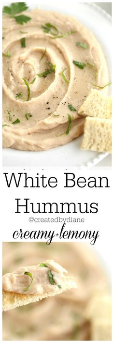 white bean hummus recipe lemony creamy @createdbydiane White Bean Hummus, White Bean Dip, White Beans, Recipes Appetizers And Snacks, Vegan Appetizers, Humus Recipe, White Bean Recipes, White Bean Recipe Vegan, Remoulade