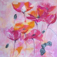 Abstract Floral - mixed media and acrylic - by Susan Pepe