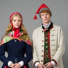 Picture of 1700 - century male and female costume from Gudbrandsdalen