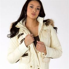 """The Vixen Collection """"Battle"""" Jacket in cream nylon with brown leather accents. #VixenCollection #fashion #style #clothes #clothing #fashionable #womensfashion #outerwear #coats #jackets #fashiongirls #sexy #beauty #leatherjacket #love #cute #beautiful #design"""