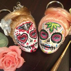 Sugar Skull Day of the Dead Doll Head Keychain by STAROSECREATIONS