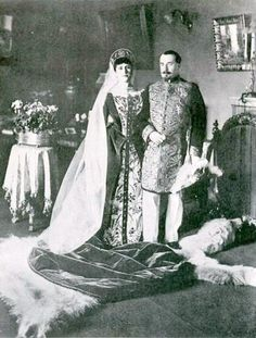 Russian court dress. Chamberlain Sosnovsky and his wife were photographed by Karl Bulla before their departure to the Imperial Ball in the Winter Palace, St. Petersburg, Russia. 1903.