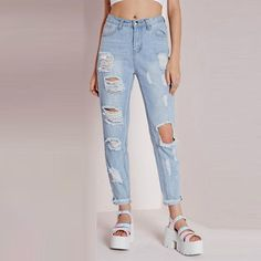 826f7ed44c61c Skinny ripped jeans for women Blue high waist Boyfriend Jeans Vintage Hole  cool denim Pencil Pants straight jeans for girl