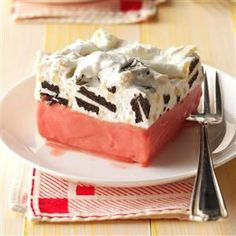 Sherbet Cookie Delight Recipe -Looking to save some time when preparing for a party? Throw together this creamy crowd-pleaser and freeze it a day or two before the event. The combination of raspberry and chocolate in this dessert is delightful, but it's also good made with lime sherbet, vanilla sandwich cookies and walnuts. —Donna Carper, South Jordan, Utah