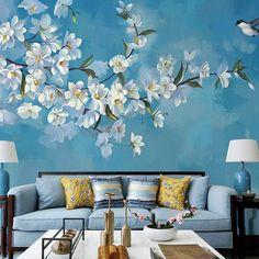 Blue Background Lotus Wallpaper Big Flowers Wall Mural Wall | Etsy