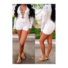 Rotita Sexy White Long Sleeve Lace Romper ($22) ❤ liked on Polyvore featuring jumpsuits, rompers, white, long-sleeve rompers, sexy romper, sexy rompers, white rompers and print romper