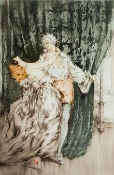 Louis Icart's nickname was Helli derived from his initials L.I. Louis Icart [1890-1950], was a French Art Deco painter and designer. Icart was born in 1890 in Toulouse and died in Paris in 1950. He became most well known as an artist in New York in the 1920's.