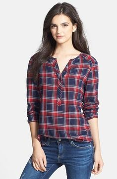Ace Delivery Check Henley Top in Blue/Red Plaid Cute Fashion, Modest Fashion, Fashion Outfits, Fashion Shirts, Kurta Designs, Blouse Designs, Today's Fashion Trends, Henley Top, Teenager