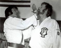 Elvis and Red West practicing karate on September 16th 1974 in Memphis ...