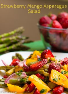 A deliciously fruity and colourful strawberry mango asparagus salad, perfect for a quick summer lunch or to accompany grilled BBQ meat.