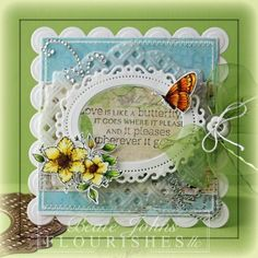 """It is another wonderful Timeless Tuesday Challenge over at Flourishes & Beate Johns created this Amazingly Gorgeous card. The sentiment on the card is wonderful. To create this card she used products that can be found at Flourishes such as our Stamp Set """"Butterflies & Blossoms"""", Floral Oval Nestablities & a Classic Oval Die, White Cardstock, Bo Bunny Country Garden Paper, Tuxedo Black Memento Ink, Copic Markers,& Green May Arts Ribbon. Be sure to check out Flourishes & her Blog for more…"""
