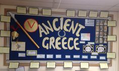 Ancient Greece classroom display with timelines, information, questions and children's own work