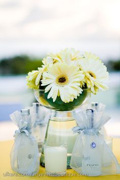 Individual alcohol bottles for favors at the table. Daisy Centerpieces, Table Centerpieces, Centerpiece Ideas, When I Get Married, I Got Married, Beach Wedding Inspiration, Wedding Ideas, Wedding Stuff, Driving Miss Daisy