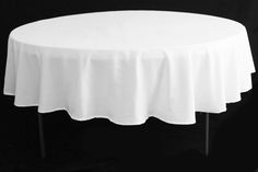 """Polyester 90"""" Round Tablecloth - White and other colors"""
