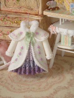 OOAK-Dollhouse Girl  coat on hang. 1:12 Girl by ANABELAMINIATURES