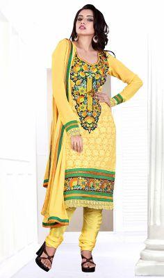 Yellow Georgette Embroidered Churidar Suit #indianchuridar #best-salwarkameez