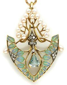 AN AQUAMARINE, DIAMOND, CULTURED PEARL AND PLIQUE-À-JOUR ENAMEL PENDANT WITH EIGHTEEN KARAT GOLD LONGCHAIN Art Nouveau