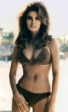 Raquel Welch became known for her long chestnut hair and big brown eyes. In 1966 she starred in the film remake of One Million Years B. A movie still of Welch used to promote the film showed her striking a pose in a prehistoric animal-skin bikini. Rachel Welch, Illinois, Divas, Anita Ekberg, Bikini Swimwear, Bikinis, Sexy Bikini, Strike A Pose, Vintage Beauty