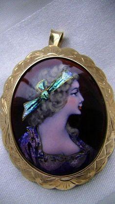 Antik Anhänger/Brosche Limosiner Email D Art  um 1890 585 Gold-Top erhalten-490€