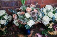 The perfect autumn wedding bouquet filled with pastel roses that compliment the autumn colours. Braintree, Essex - Wedding Photographer - Gemma Giorgio Photography