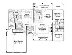 First Floor Plan of Country   Traditional   House Plan 59114