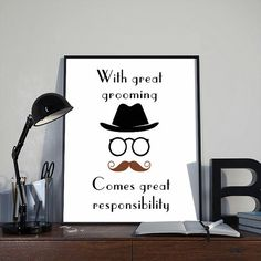 Retro Moustache Art Print Poster, With Great Grooming INSTANT DOWNLOAD Printable…