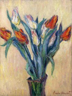 Vase of Tulips, 1885 -Claude Monet (French, 1840-1926) Impressionism