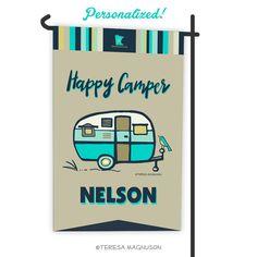 Custom Camping Flag - Happy Camper Aqua, Garden Flag, Personalized