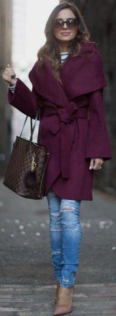Burgundy Robe Coat. | Mia Mia Mine #burgundy
