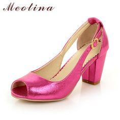 Meotina Women Shoes Peep Toe Thick High Heels